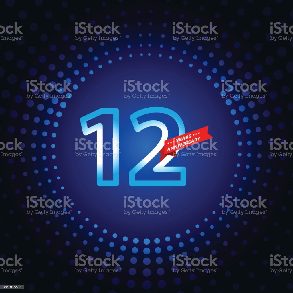 Twelve years anniversary icon with blue color background vector art illustration