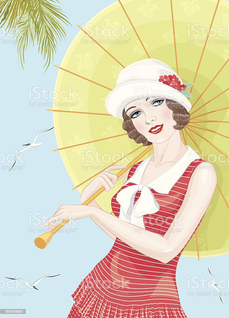 Twenties girl vector art illustration