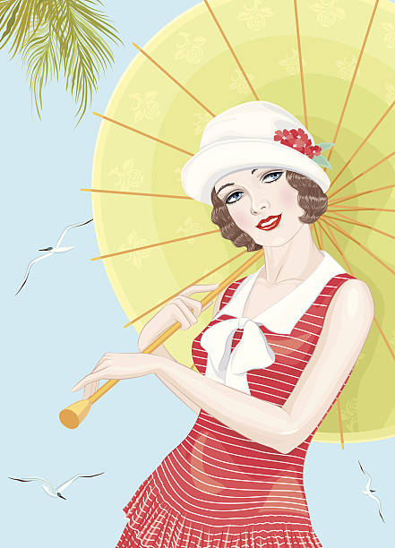 Twenties girl vector art illustration