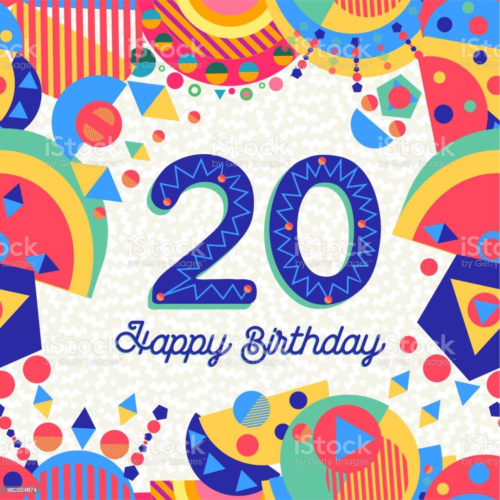 Número de cartão de aniversário de vinte 20 ano - Vetor de Aniversário royalty-free