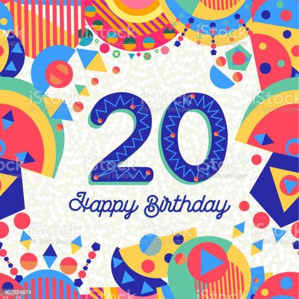Vetores de Número De Cartão De Aniversário De Vinte 20 Ano e mais imagens de Aniversário