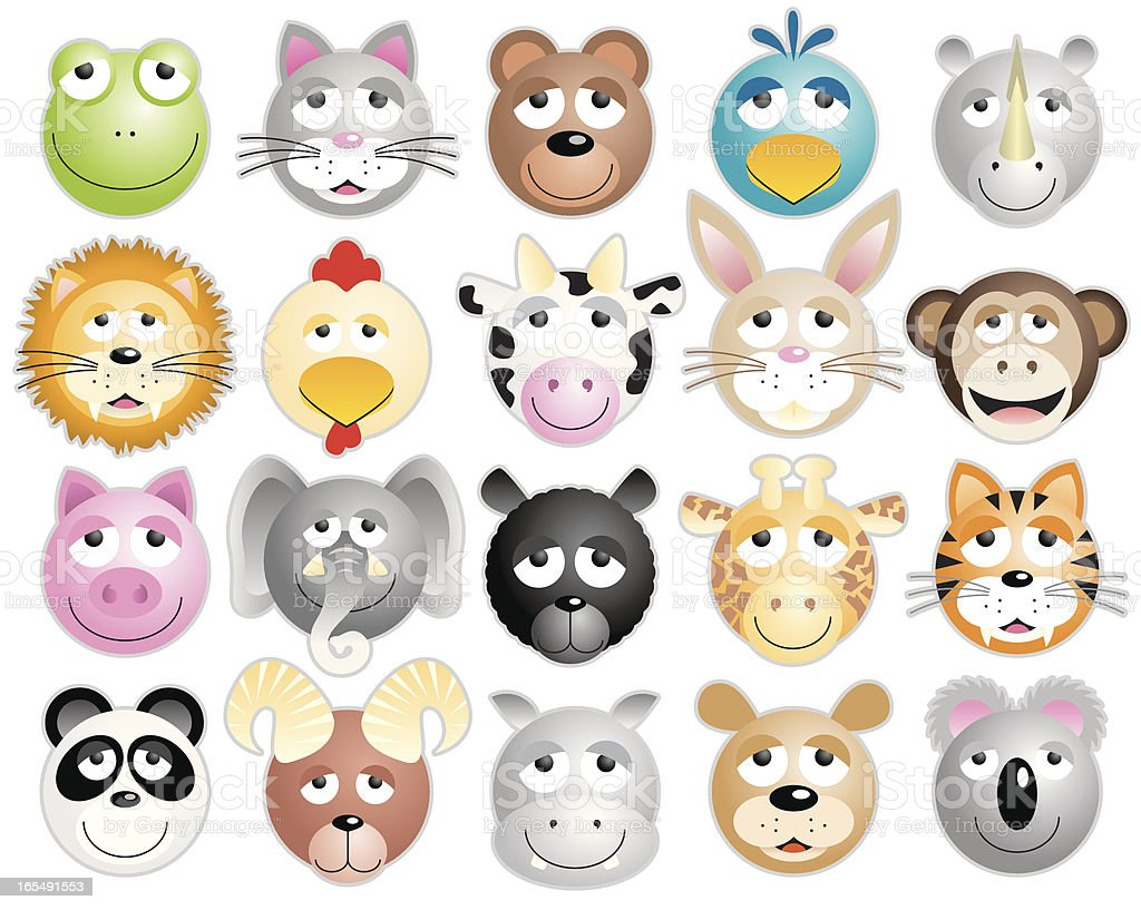 Twenty animal heads royalty-free twenty animal heads stock vector art & more images of animal