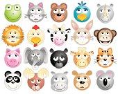 Twenty animal heads