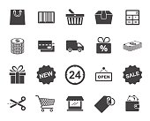 Twenty black and white shopping icons