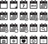 Twenty calendar black and white icons