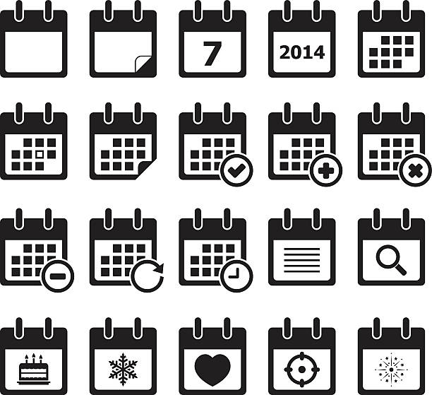 twenty calendar black and white icons - holiday calendars stock illustrations