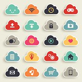 Twenty cloud shaped icons depicting cloud computing