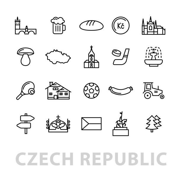 twenty czech republic icons vector art illustration