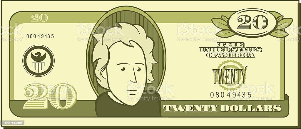 Twenty Dollar Bill - Cartoon vector art illustration