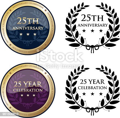 Twenty fifth anniversary celebration gold medals and black laurel wreath icons collection.