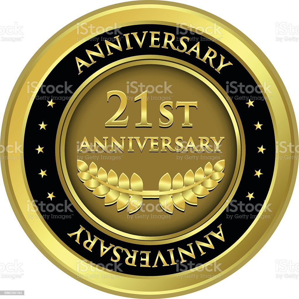 Twenty First Anniversary Gold Medal vector art illustration