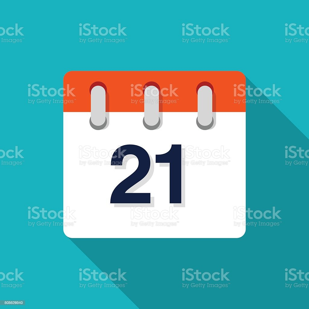 Twenty First Flat Design Calendar Icon - VECTOR vector art illustration