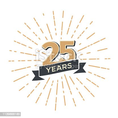 Twenty five anniversary retro vector emblem isolated template Vintage icon 25th years with ribbon and fireworks on white background