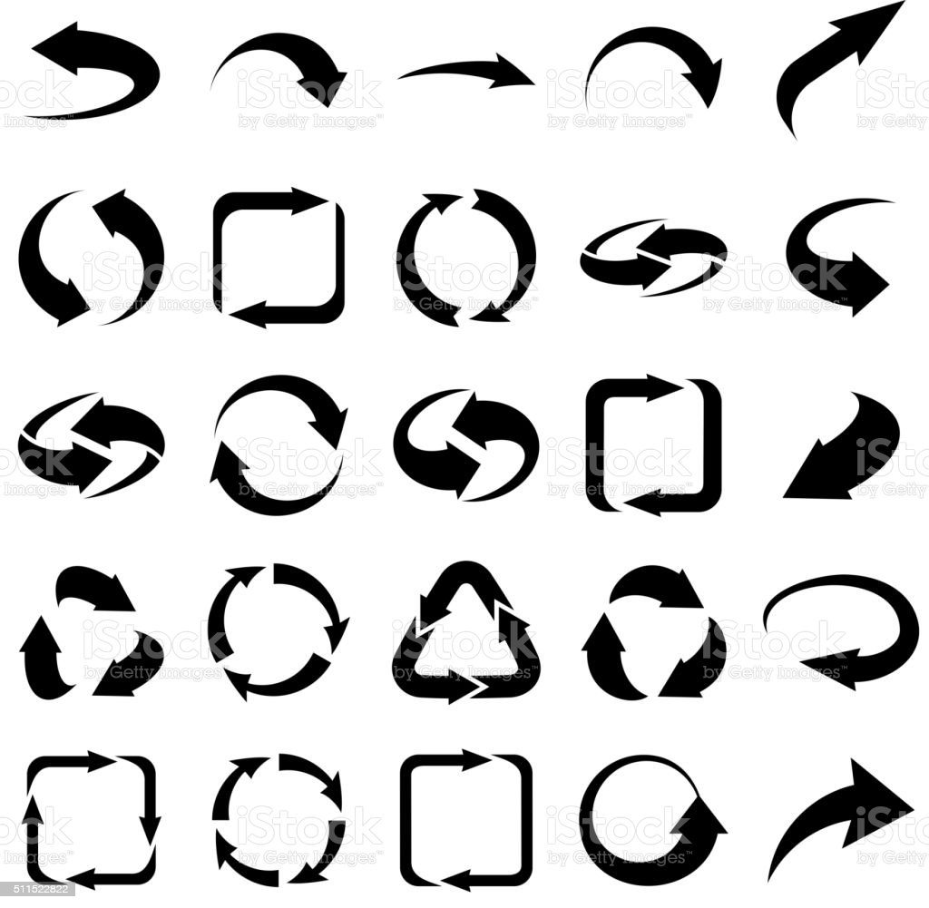 Twenty five arrows icons set collections vector art illustration