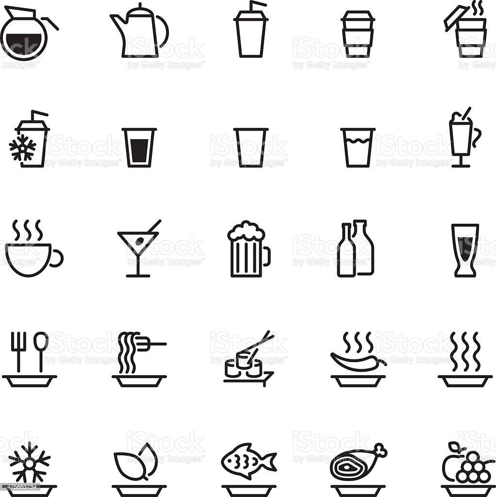 Veinticinco negro iconos de alimentos Aislado en blanco - ilustración de arte vectorial