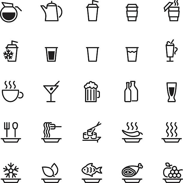 25 schwarz essen symbole, isoliert auf weiss - fischglas stock-grafiken, -clipart, -cartoons und -symbole