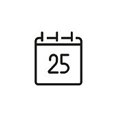 Twenty five calendar date line icon