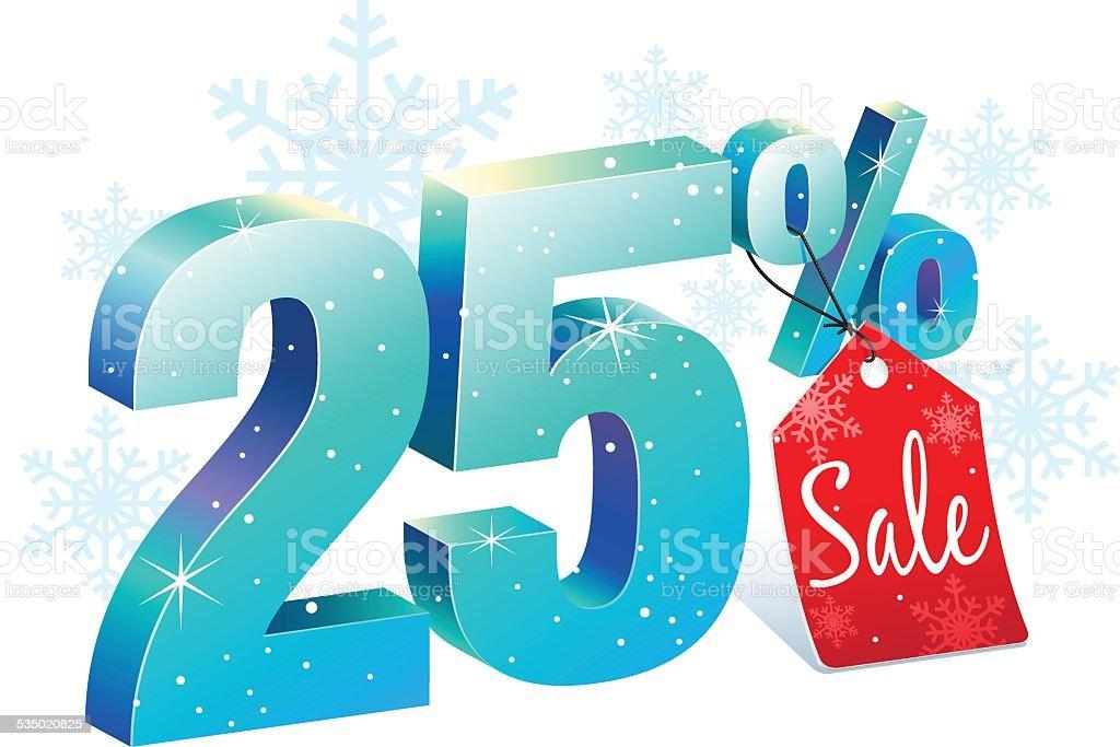 Twenty Five Percent Winter Sale Discount vector art illustration