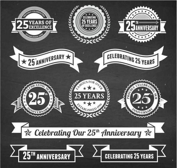 bildbanksillustrationer, clip art samt tecknat material och ikoner med twenty five year anniversary hand-drawn chalkboard royalty free vector background - 25 29 år