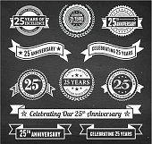 twenty five year anniversary hand-drawn chalkboard royalty free vector background