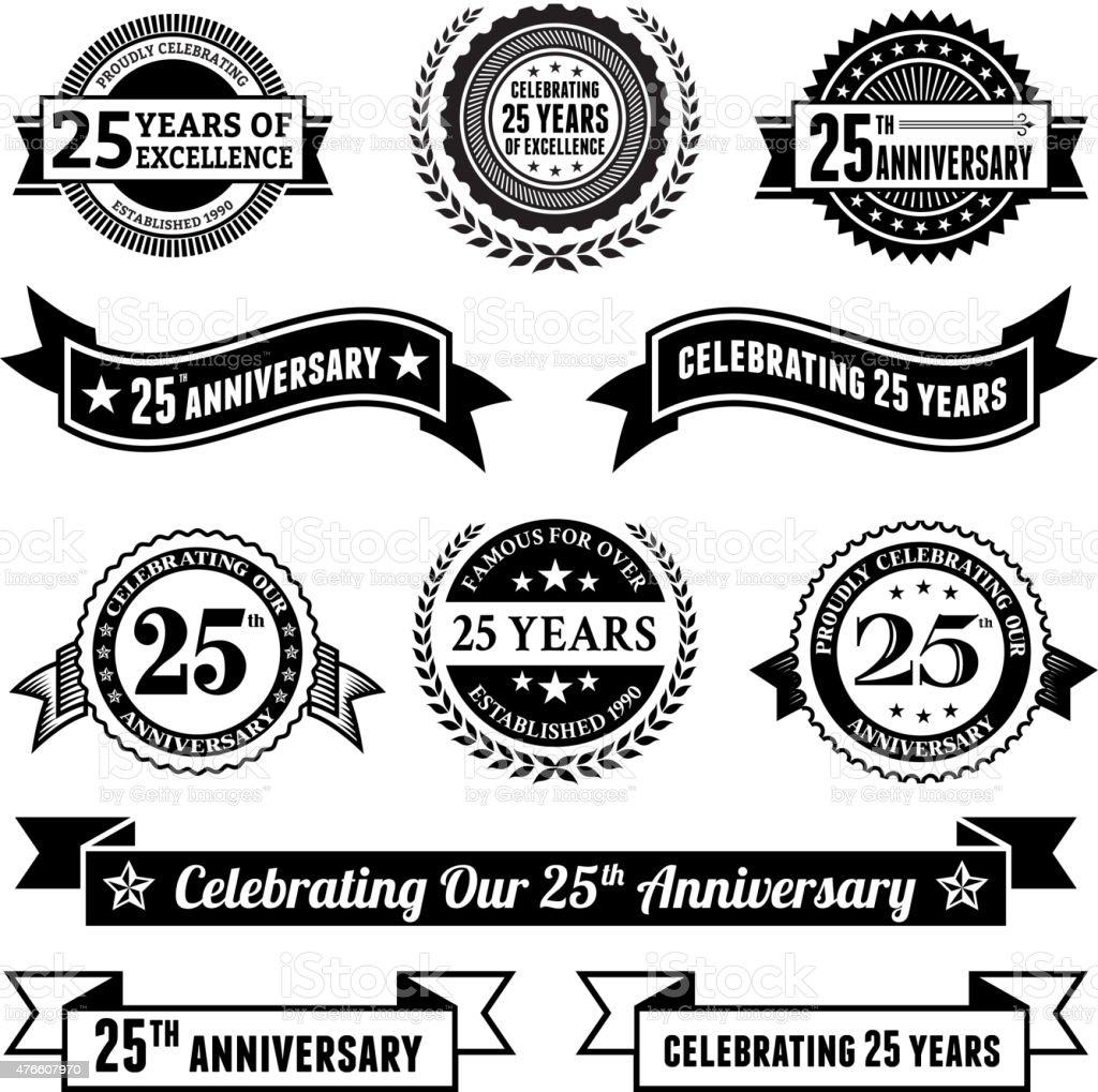 twenty five year anniversary vector badge set royalty free background