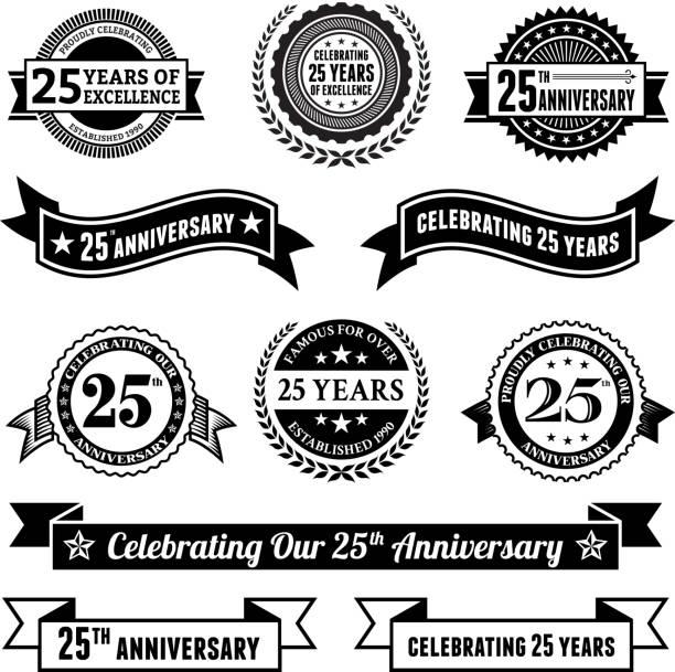 bildbanksillustrationer, clip art samt tecknat material och ikoner med twenty five year anniversary vector badge set royalty free background - 25 29 år