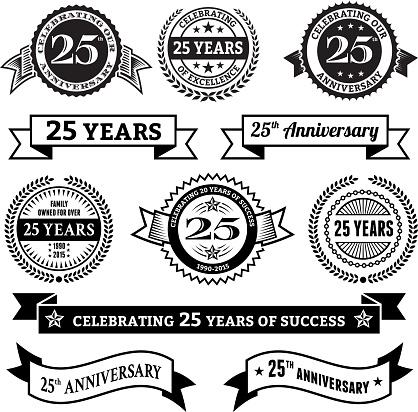 twenty five year anniversary vector badge set vector background