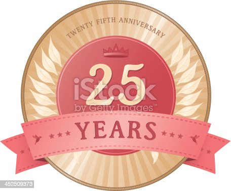 A vintage style twenty five years anniversary badge with a laurel wreath, crown and hummingbird motifs.