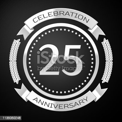 Twenty five Years Anniversary Celebration Design. Silver ring and ribbon on black background. Colorful Vector template elements for your birthday party