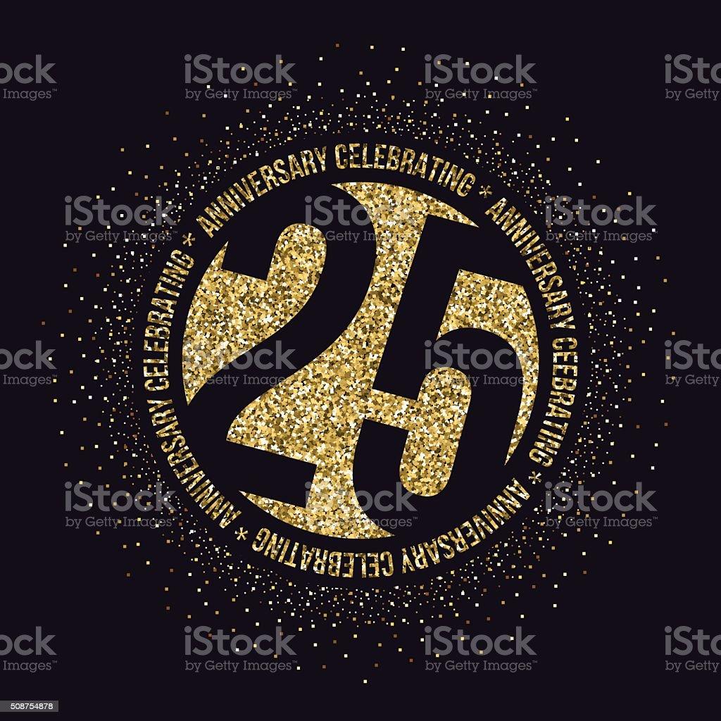 Twenty five years anniversary celebration logotype. 25th anniversary golden logo.