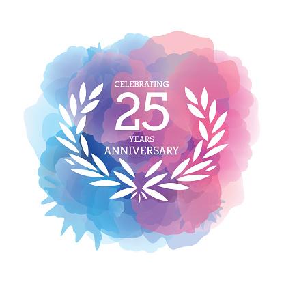 Twenty Five Years Anniversary Emblem on watercolor background