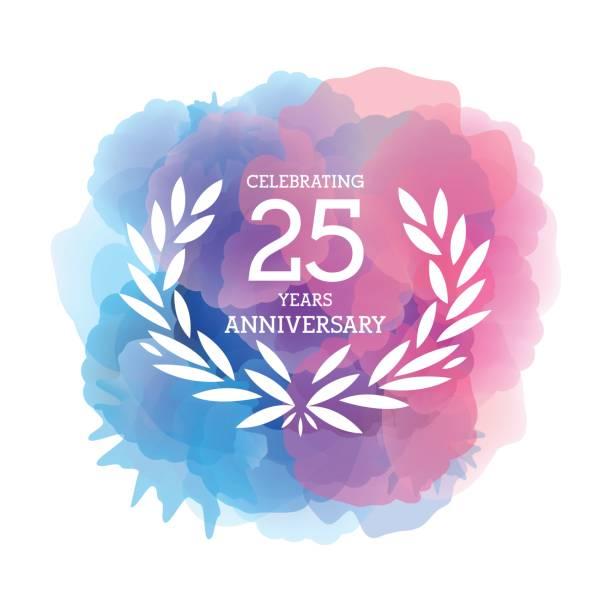 bildbanksillustrationer, clip art samt tecknat material och ikoner med tjugofem år anniversary emblem på akvarell bakgrunden - 25 29 år