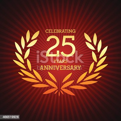 Vector of golden anniversary emblem for 25 years.