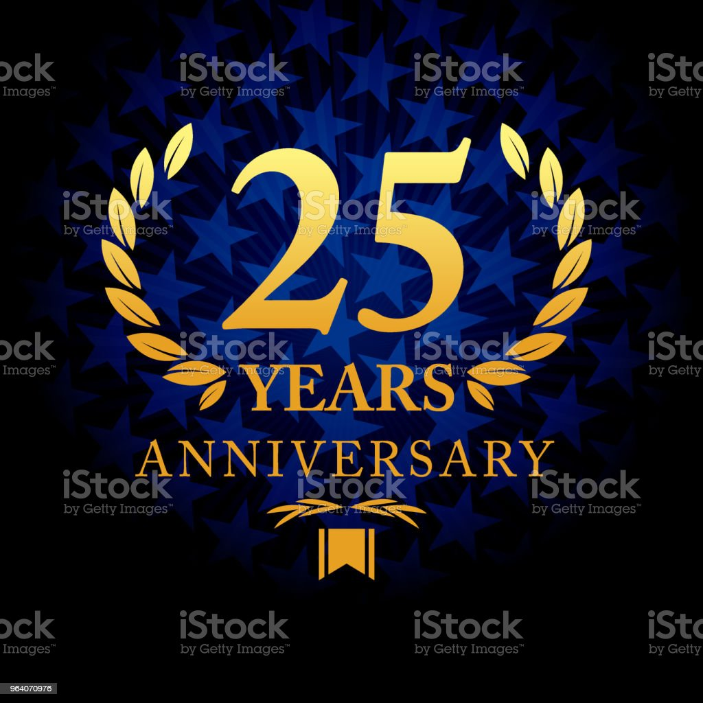 Twenty five years anniversary icon with blue color star shape background - Royalty-free 25th Anniversary stock vector