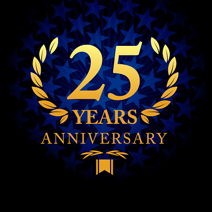 Vector of twenty five years anniversary icon with blue color star shape background