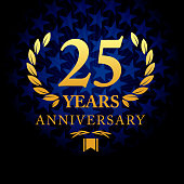 Twenty five years anniversary icon with blue color star shape background