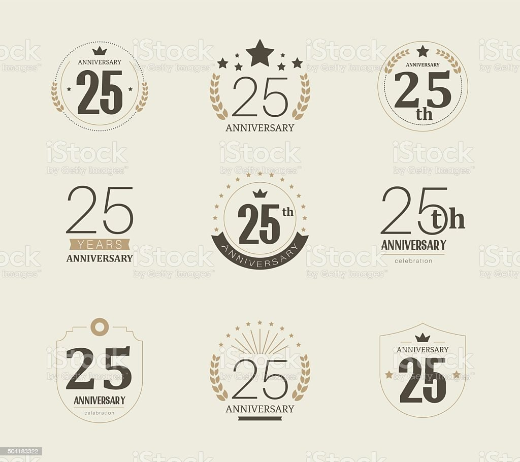 Twenty five years anniversary logo. 25th anniversary vintage logotype. vector art illustration