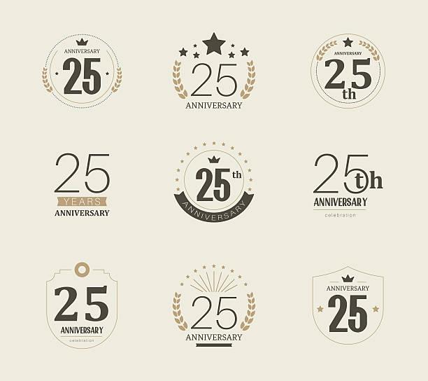 ilustrações, clipart, desenhos animados e ícones de vinte e cinco anos de logotipo de aniversário. 25 º aniversário vintage logotype. - data especial