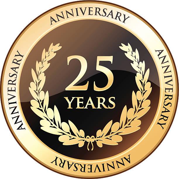bildbanksillustrationer, clip art samt tecknat material och ikoner med twenty five years anniversary shield - 25 29 år