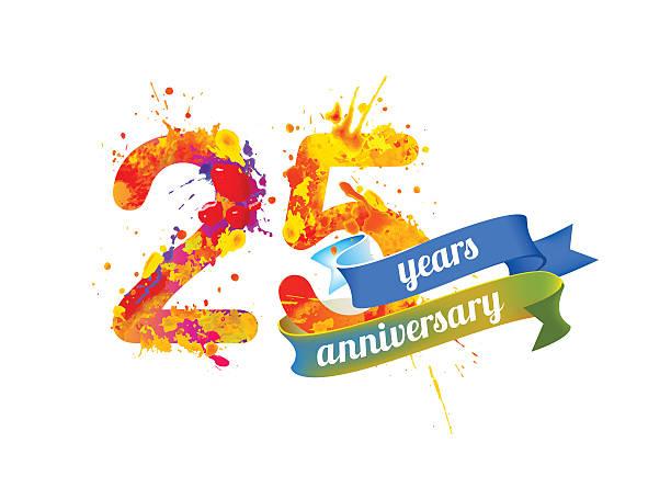 bildbanksillustrationer, clip art samt tecknat material och ikoner med twenty five years anniversary - 25 29 år