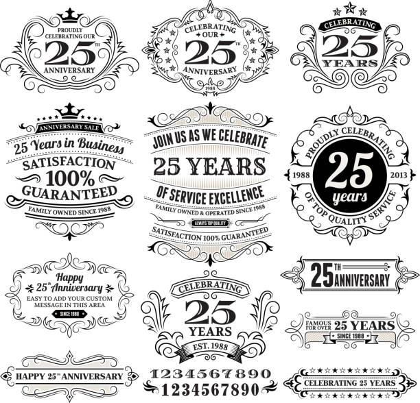 Twenty Five Years Black and White Anniversary Label Collection Twenty Five Year anniversary Black and White Anniversary Label Collection This editable vector file features black label on white background. The labels are organized in rows and can be used as app icons, online as internet web buttons, and in digital and print. pattern stock illustrations