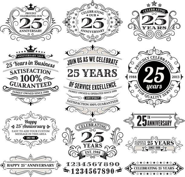 bildbanksillustrationer, clip art samt tecknat material och ikoner med twenty five years black and white anniversary label collection - 25 29 år