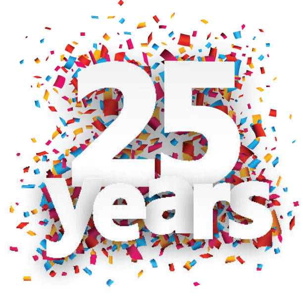 ilustrações, clipart, desenhos animados e ícones de vinte e cinco anos de confete de papel placa - 25 30 anos