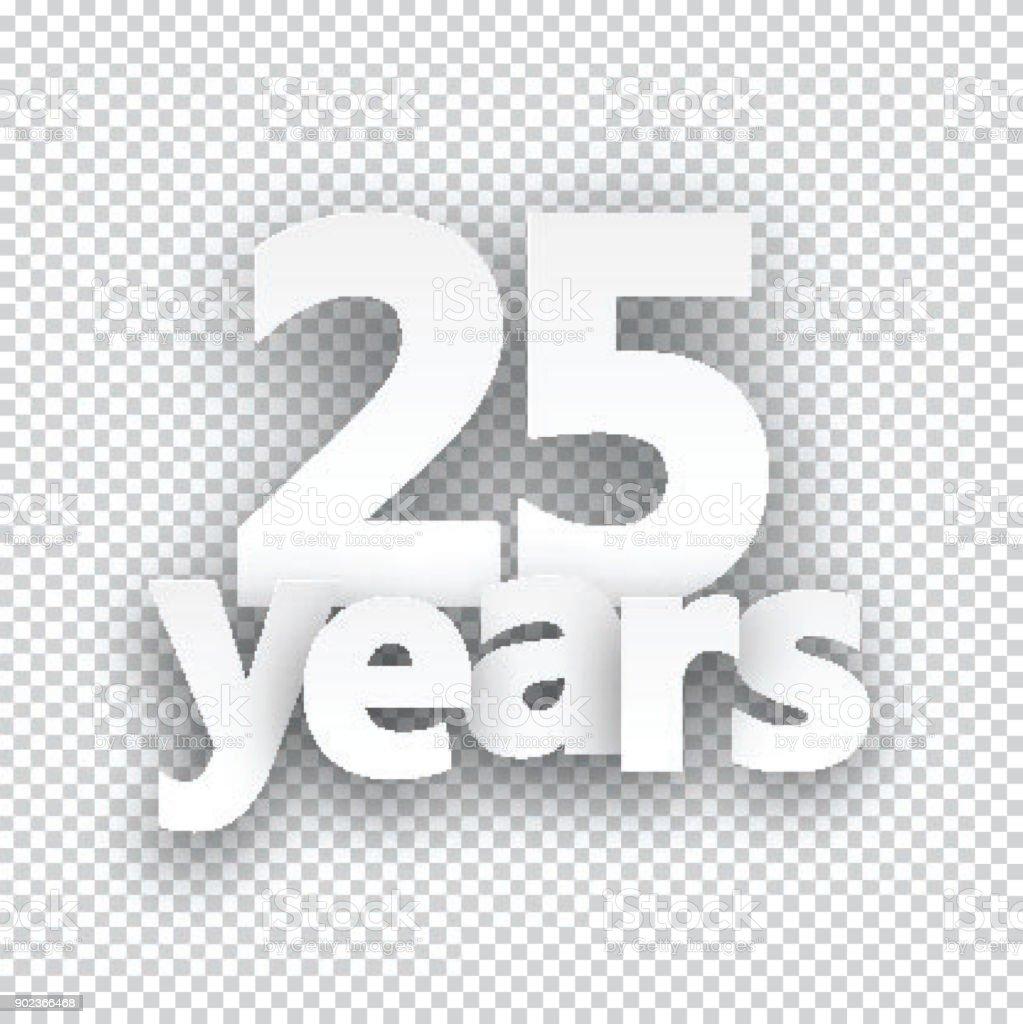 Fünfundzwanzig Jahre Papier Zeichen. – Vektorgrafik