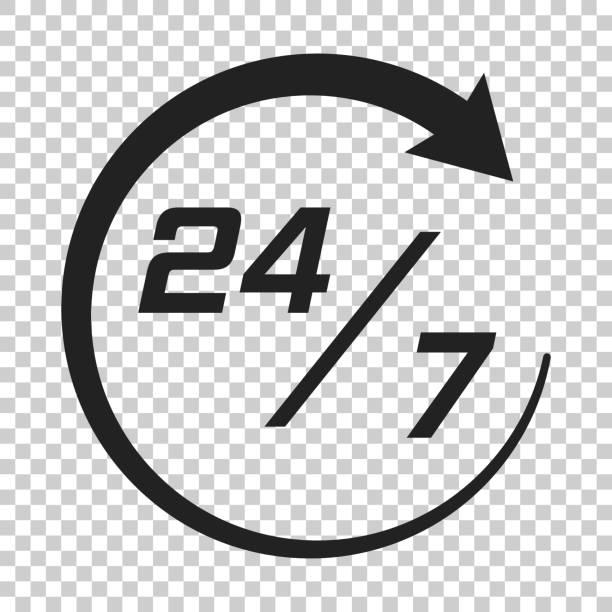 ilustrações, clipart, desenhos animados e ícones de ícone de relógio de 24 horas em estilo simples. ilustração de tempo de serviço 24/7 em fundo transparente isolado. conceito de sinal o tempo todo. - dia do cliente