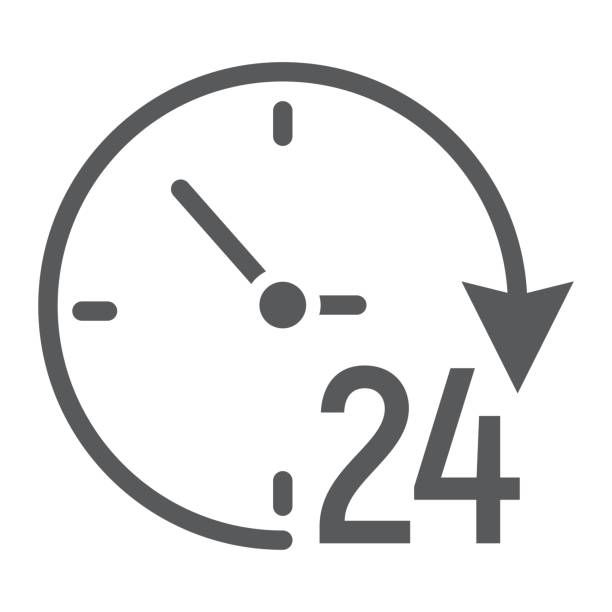 Twenty four hour glyph icon, e commerce and marketing, clock sign vector graphics, a solid pattern on a white background, eps 10. Twenty four hour glyph icon, e commerce and marketing, clock sign vector graphics, a solid pattern on a white background, eps 10. eternity stock illustrations