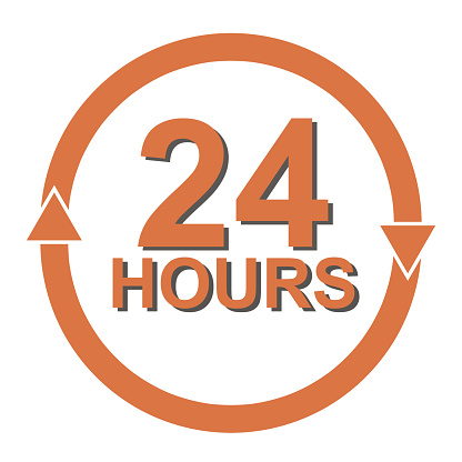 Twenty four hour with arrow loop icon, 24 hours cyclic sign, Opened order execution or delivery, All day business and service, Vector design illustration