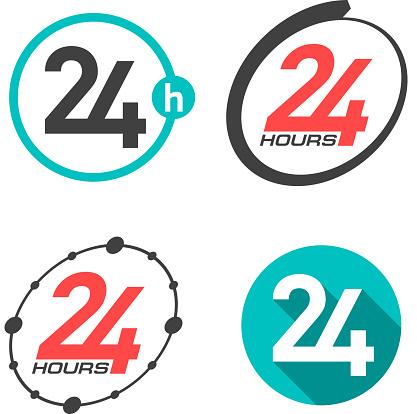 Twenty four hours a day icons