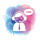 Vector of twenty four hours customer service icon on watercolor background. EPS Ai 10 file format.
