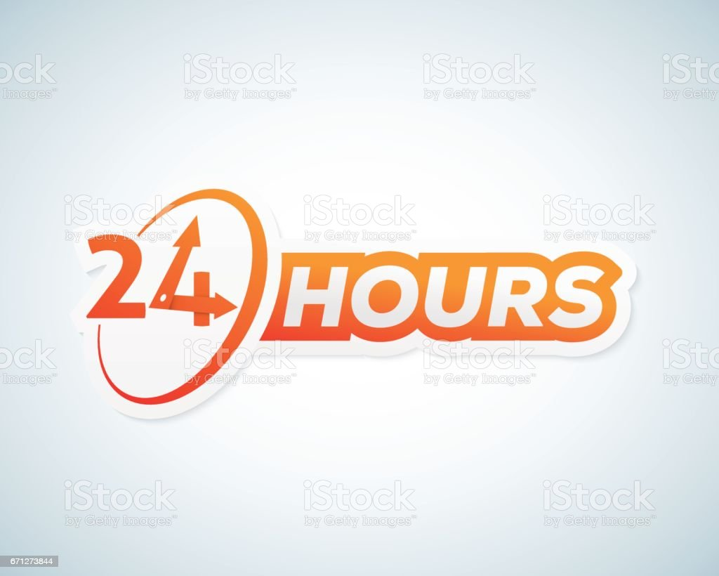 Twenty Four Hours Open Vector Sticker Sign Or Signboard Template ...